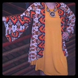 Kimono and mustard T-shirt dress (with pockets!)